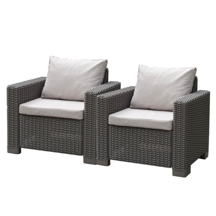 Allibert Jeu de chaise de jardin 6 pcs California 2 Cappuccino 231560