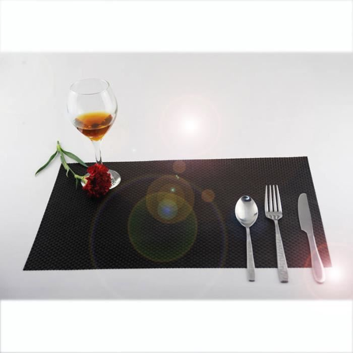 4pcs Sets de Table en PVC Antidérapage - Isolant - 45x30 cm - Tapis de Table Lavable pour Cuisine Occidentale -Noir
