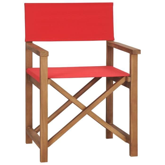 BINGO - Chaise de metteur en scène Bois de teck solide Rouge - Chaise d'extérieur ,Chaise de terrasse ,Fauteuil de balcon-5304