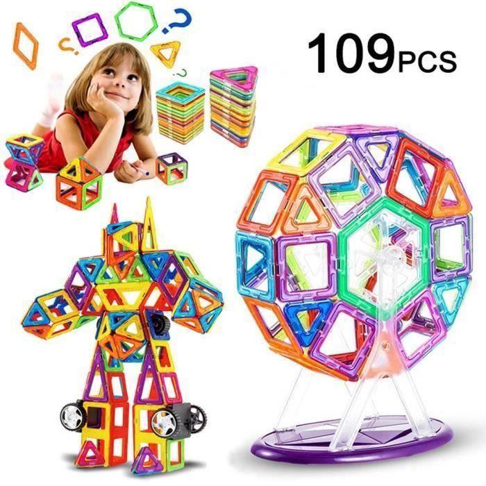 SHAN 109 Pièce Blocs de Construction Magnétique, Magique Aimant Créatif Bloc Jouet Cadeau pour Journée des Enfants Bambin Plus de 3