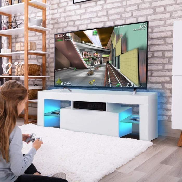 Meuble TV moderne brillant avec bandes LED et télécommande meuble tv blanc meuble led meuble tv avec led led meuble tv led Banc 75
