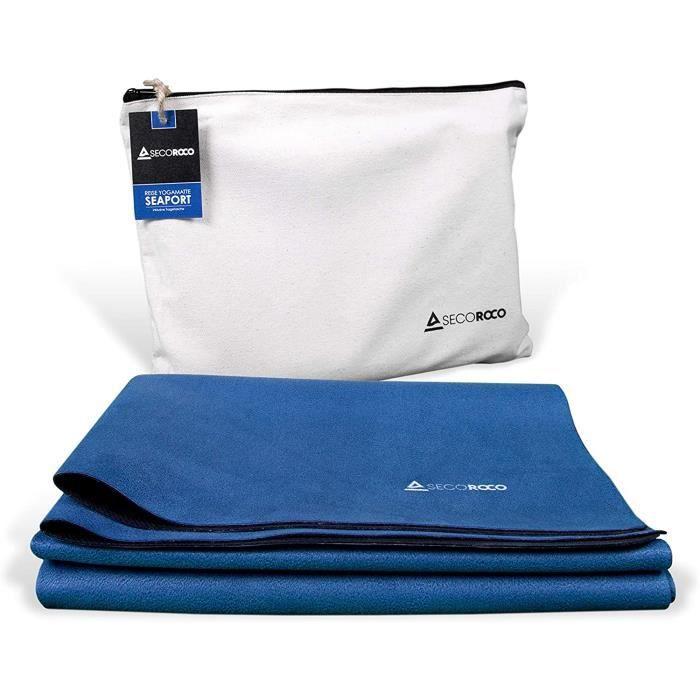 Tapis de yoga de voyage « Seaport » en caoutchouc naturel avec sac de transport en lin - Antidérapant, léger pliable, écologique - É