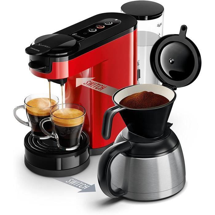 HD6592/81 Machine à café SENSEO Switch 2 en 1 Rouge (machine à dosettes + machine à café filtre)