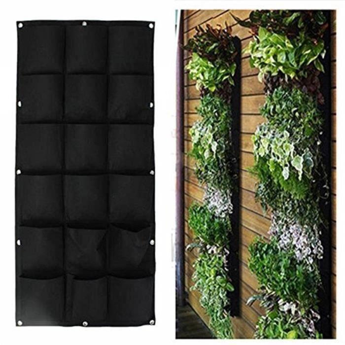 Sac à Plantes noir 18 Poches Mural Jardin Vertical Pot à Suspendre Intérieur Extérieur Bo28891