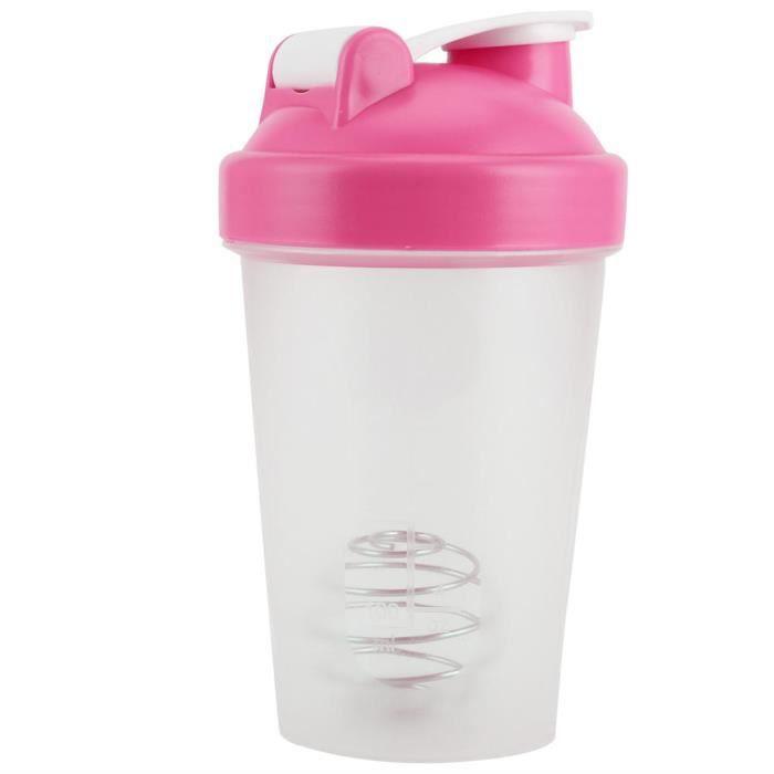 ARAMOX Bouteille de sport 400ML Shake Bottle Bouteille de protéines en plastique Fitness Water Kettle Sport Cup sans BPA(Rose )