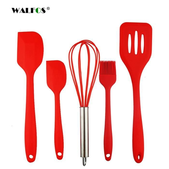 Lot Ustensiles,WALFOS Silicone outils de cuisson Silicone ensemble d'ustensiles de cuisine oeuf fouet cuisson pâtisserie outils