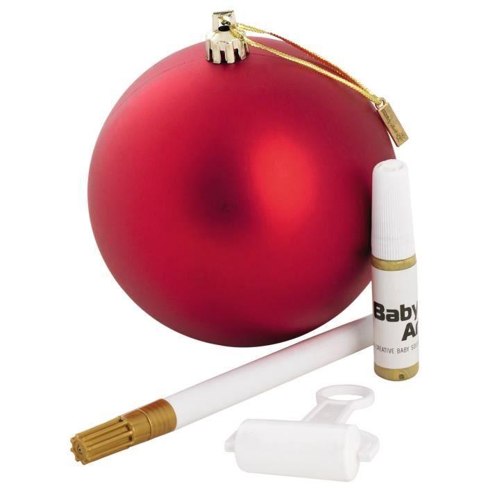 BABY ART Boule de Noël à Personnaliser Rouge