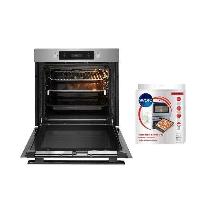 Pack WHIRLPOOL OAKP9 555 - Four électrique encastrable - Chaleur pulsée - Pyrolyse - A+ - Inox + WPROUBT521 lèche frite extensible