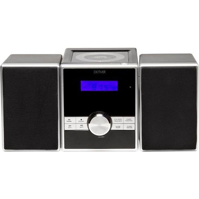 Chaîne hi-fi radio réveil FM stéréo horloge lecteur laser CD AUX Denver MCA-230