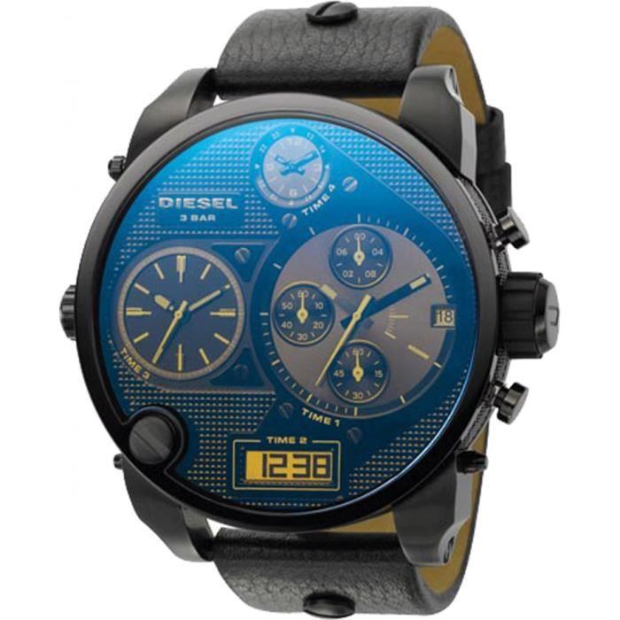 Diesel Montre D'Homme DZ7127 Cadran Irisé Bleu Double Zone Chronographe Bracelet Cuir Noir