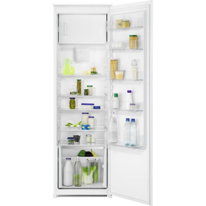 FAURE FEDN18FS1 - Réfrigérateur 1 Porte Encastrable - 281L (259 + 22) - Froid Brassé - L 56 x H 178 cm - Fixation Glissière
