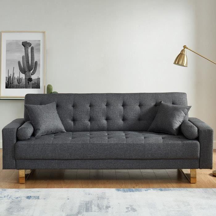 Canapé 3 places convertible en tissu gris chiné piètement en métal doré - Collection Chic Gris