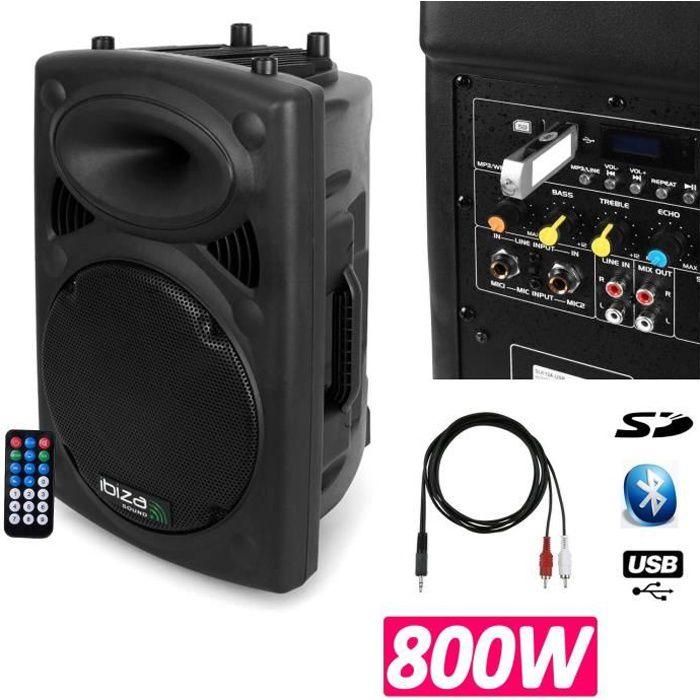 Enceinte DJ SONO Mobile amplifiée 800w lecteur mp3 SLK-15A-USB BT + câble PC