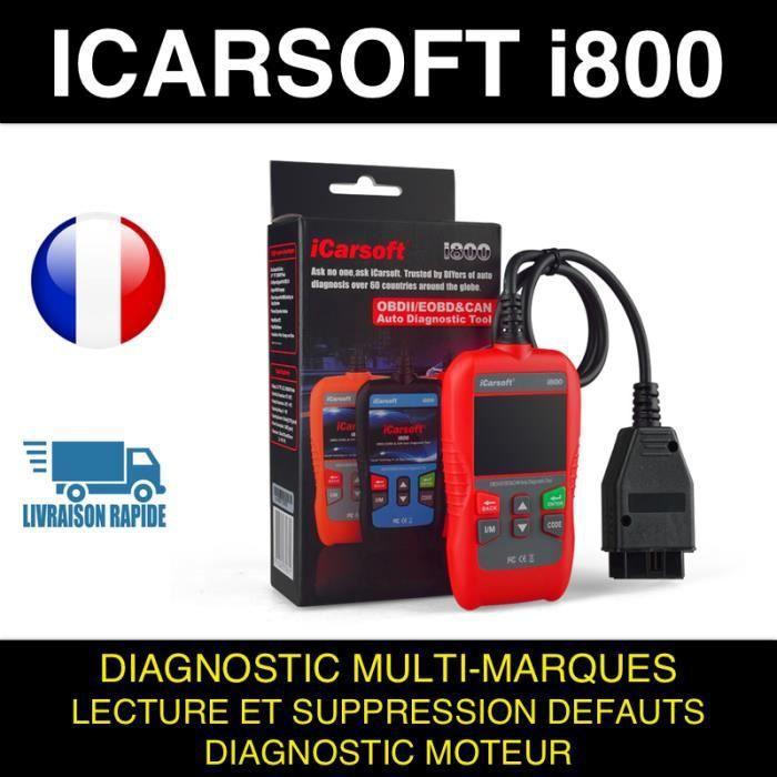 ★ ICARSOFT I800 ★ VALISE DIAGNOSTIC AUTO MULTIMARQUE OBD2 100% FRANCAIS