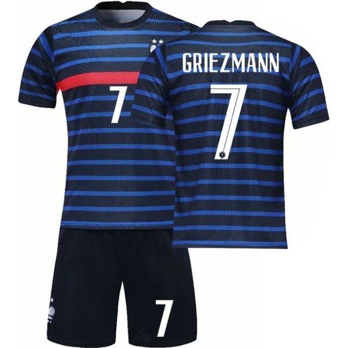 Maillot de Football France 2021 GRIEZMANN 7 Ensemble L'équipe FFF Domicile Maillot de Formation Tenue Respirant Bleu Junior Enfant
