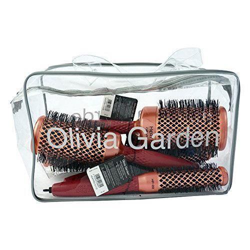 Olivia Garden Heat Pro Trousse de 4 Brosses Thermales Rondes (22, 32, 42, 52mm) - Antistatique, Barrilet Cuivre/Céramique et Poils