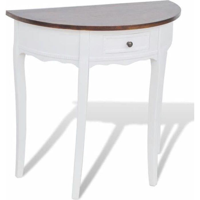 Table console extensible Table d'Appoint Table d'entrée contemporain avec tiroir et dessus de table marron Demi-ronde