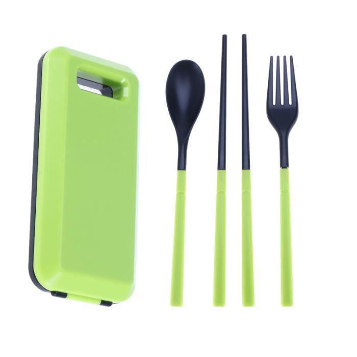 2 dans une fourchette de pliage cuillère Set cuillère multifonctionnel portable