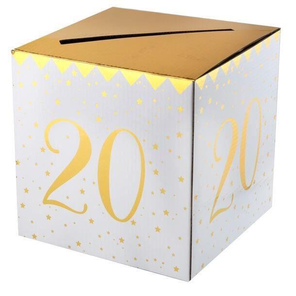 Boîte pour carte de fête anniversaire 20 ans blanche et dorée métallisée (x1) R/6186