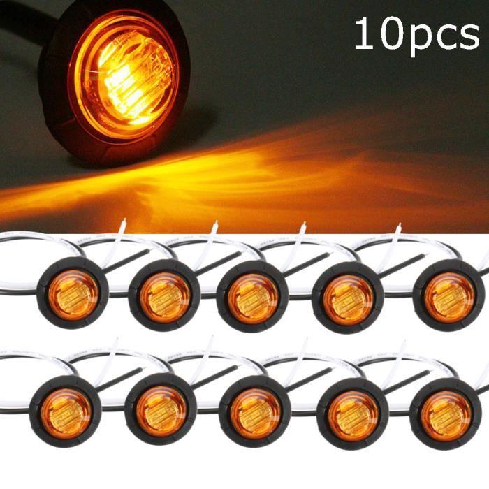 10 pièces jaune ambre lumière LED étanche petit feu de position latéral rond 3 lampes à bouton LED camion 12V