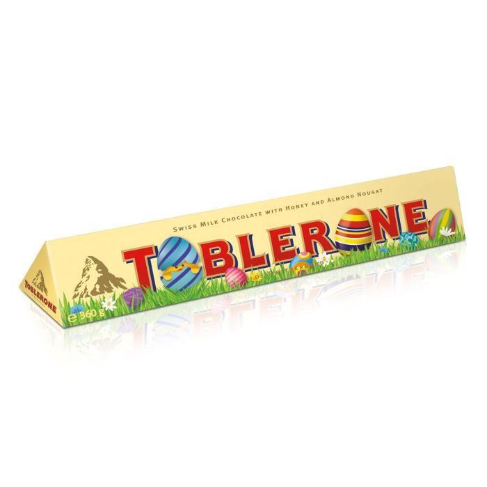 TOBLERONE Barre de chocolat au lait Suisse avec nougat (10%) au miel et aux amandes