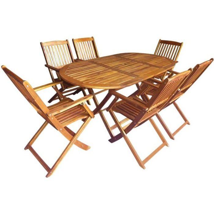 7 pcs Mobilier d'extérieur Pliable avec 1 Table et 6 Chaises en Bois d'acacia Massif Salon de Jardin - Mobilier de Jardin -