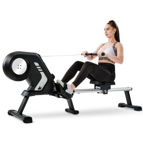 VGEBY® Rameur d'appartement - Pour fitness et cardio training - Ecran LCD multifonction - Gris -CYA
