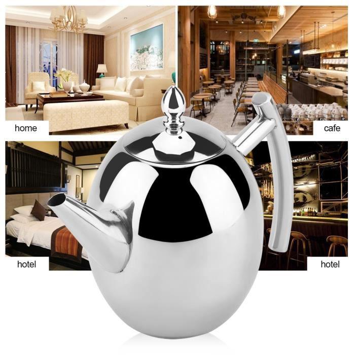 1 pc 1500 ml théière en verre de thé domestique poignée en acier inoxydable filtre théière résistant à la chaleur HAN2