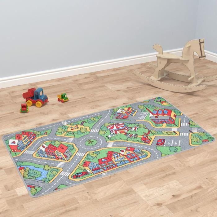 Tapis de jeu Poil à boucle 120 x 160 cm Motif route de ville - Gris - Jouets pour bébés - équipement d'éveil - Tapis d'éveil - Gris