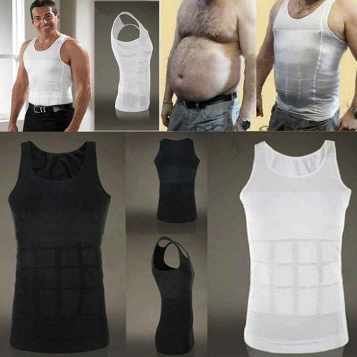 Minceur Mise en forme 3pcs hommes amincissant le corps shaper gilet sous-vêtements, taille :: XL (noir) - 249582 Noir