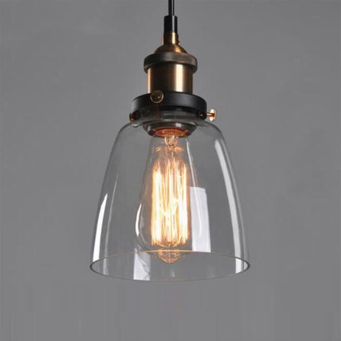 loft industriel vintage r tro lampe plafond en verre lumi re suspendue achat vente r tro. Black Bedroom Furniture Sets. Home Design Ideas