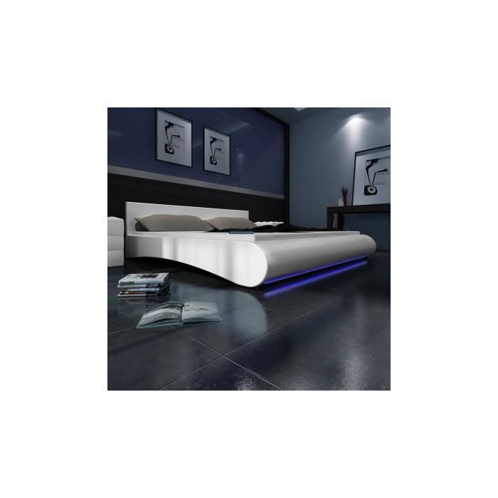 lit en pu cuir avec t te de lit led 140 200 cm blanc. Black Bedroom Furniture Sets. Home Design Ideas