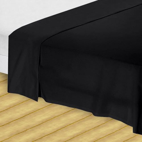 drap plat 240x300cm noir achat vente drap plat cdiscount. Black Bedroom Furniture Sets. Home Design Ideas