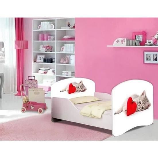 lit fille chat sommier et matelas 140x70cm achat vente lit complet lit fille chat sommier et. Black Bedroom Furniture Sets. Home Design Ideas