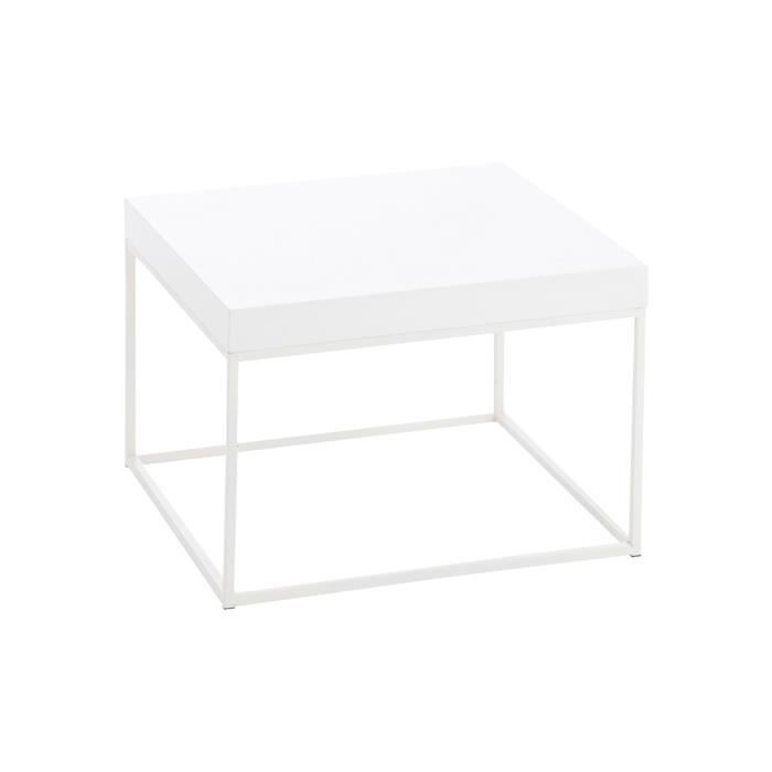 Table basse carr e en m tal blanc 50x50x35cm achat for Table basse blanche pas cher