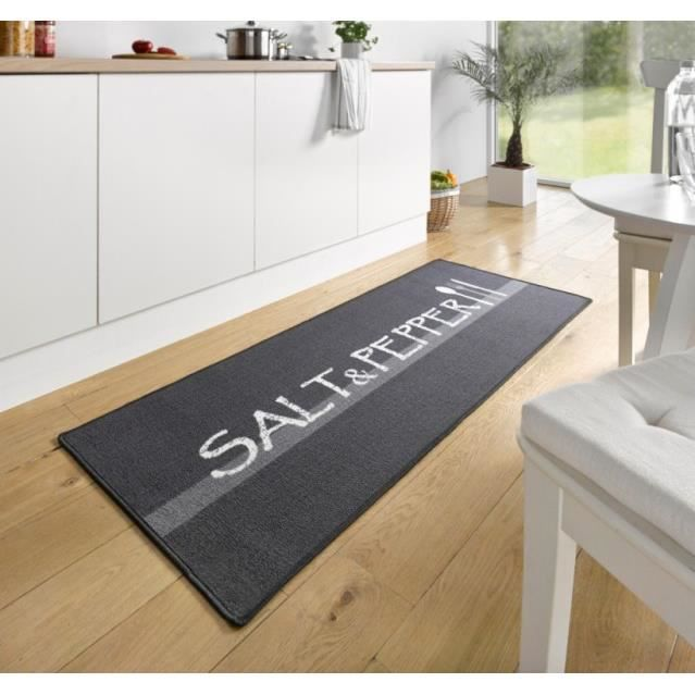tapis de cuisine salt pepper gris blanc 67x180 cm 102395 achat vente tapis cdiscount. Black Bedroom Furniture Sets. Home Design Ideas