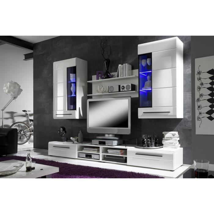 ensemble meuble tv coloris blanc et noir achat vente living meuble tv ensemble meuble tv. Black Bedroom Furniture Sets. Home Design Ideas
