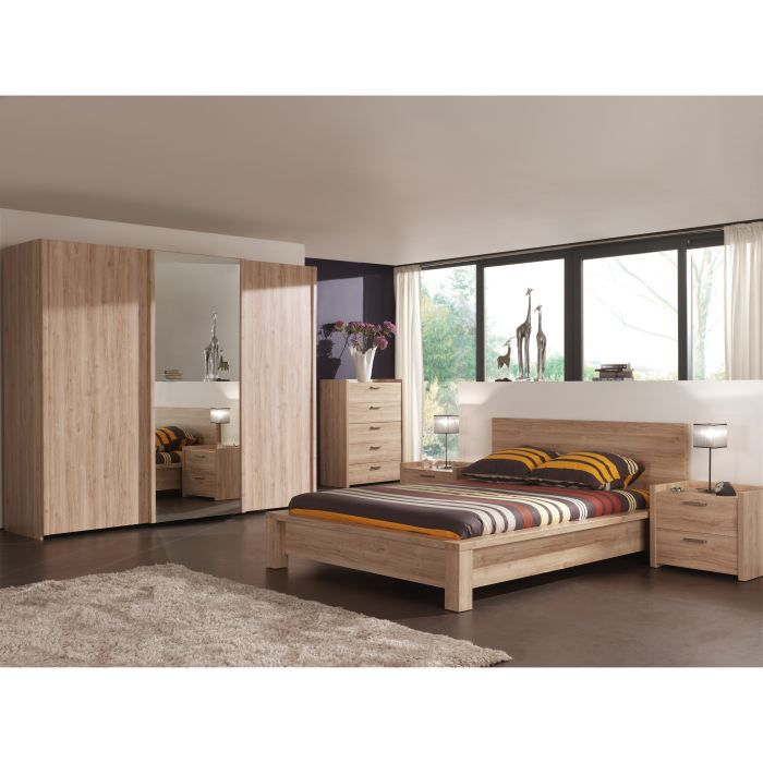 chambre adulte compl te florine 160x200 cm achat vente. Black Bedroom Furniture Sets. Home Design Ideas