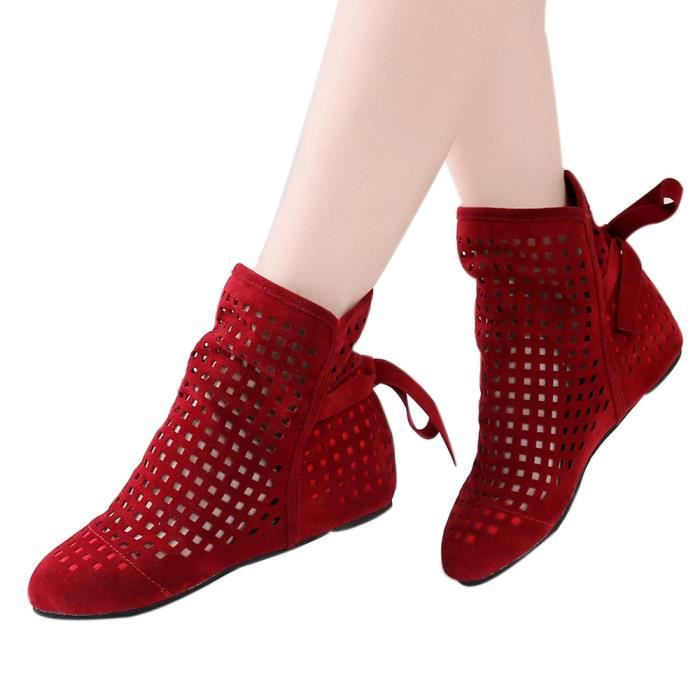rouge Casual Bottines Cachée Bottes Cutout Bas Bottillons Femmes Plates Wedges Chaussures Cute qP8nXWUw