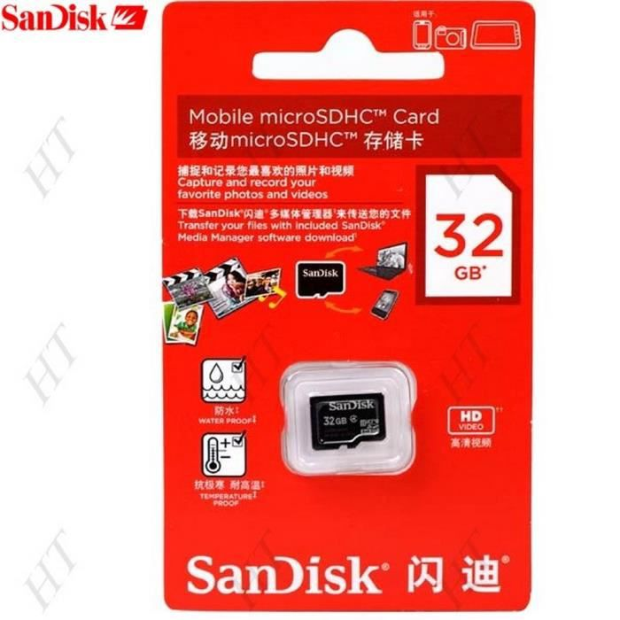 carte memoire micro sd 32 giga pour smartphone android go pro tablette sandisk achat pack. Black Bedroom Furniture Sets. Home Design Ideas