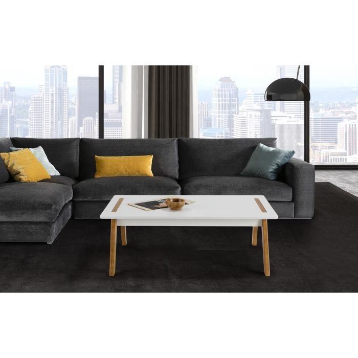 TABLE BASSE SHANA Table basse - Décor blanc ciré - L 100 x P 6