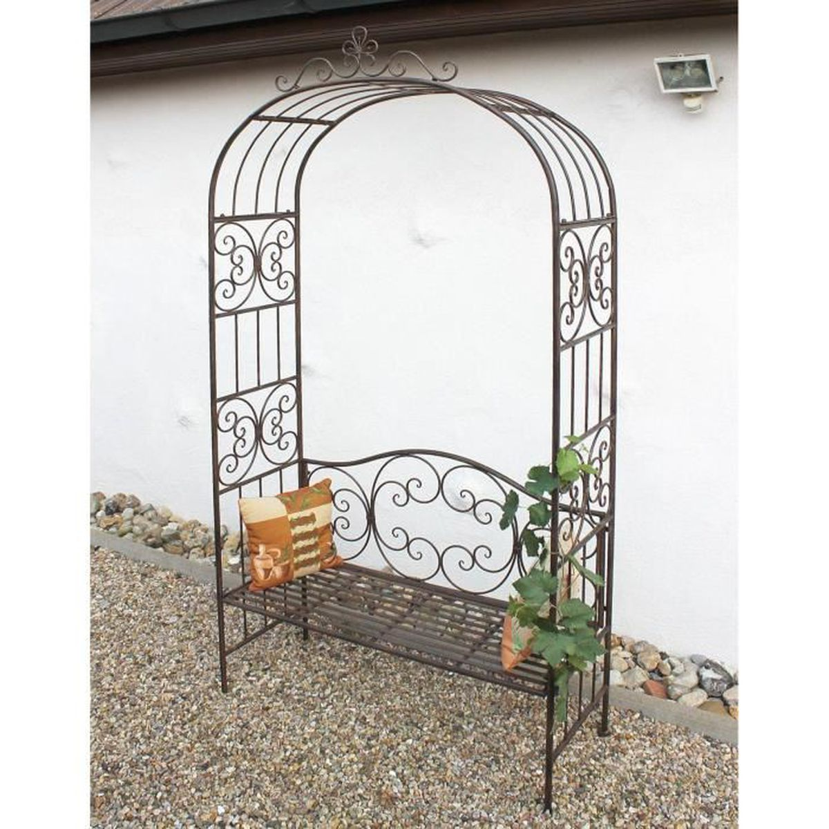 dandibo arcade rosier avec banc 120852 en m tal 250cm banc de jardin espalier pergola support. Black Bedroom Furniture Sets. Home Design Ideas