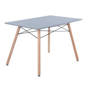 TABLE À MANGER SEULE Alwine 110 - Table Rectangulaire Grise