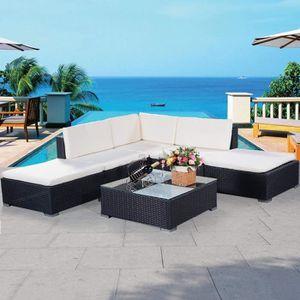Ensemble table et chaise de jardin Ensemble Salon de Jardin Résine Tressée 6 PCS avec