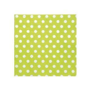 SERVIETTE JETABLE 100 Serviettes en papier vert anis à pois blancs
