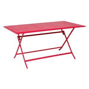 TABLE DE JARDIN  TABLE AZUA HESPERIDE PLIANTE ALU CERISE 6 PLACES
