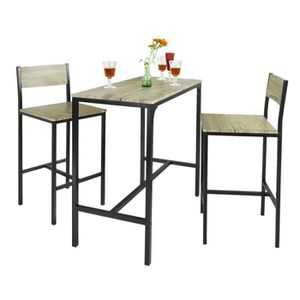 MANGE-DEBOUT SoBuy® OGT03 Ensemble table de bar + 2 chaises, Se