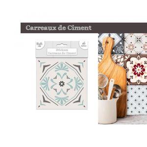 STICKERS Lot de 6 Stickers Carreaux de Ciment – Vert Motif
