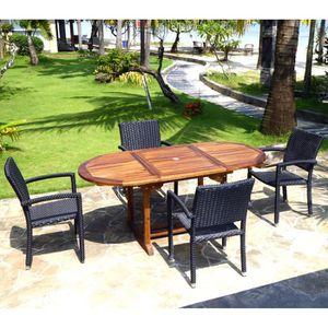 SALON DE JARDIN  Salon de jardin en teck Bali + 4 fauteuils Palma e