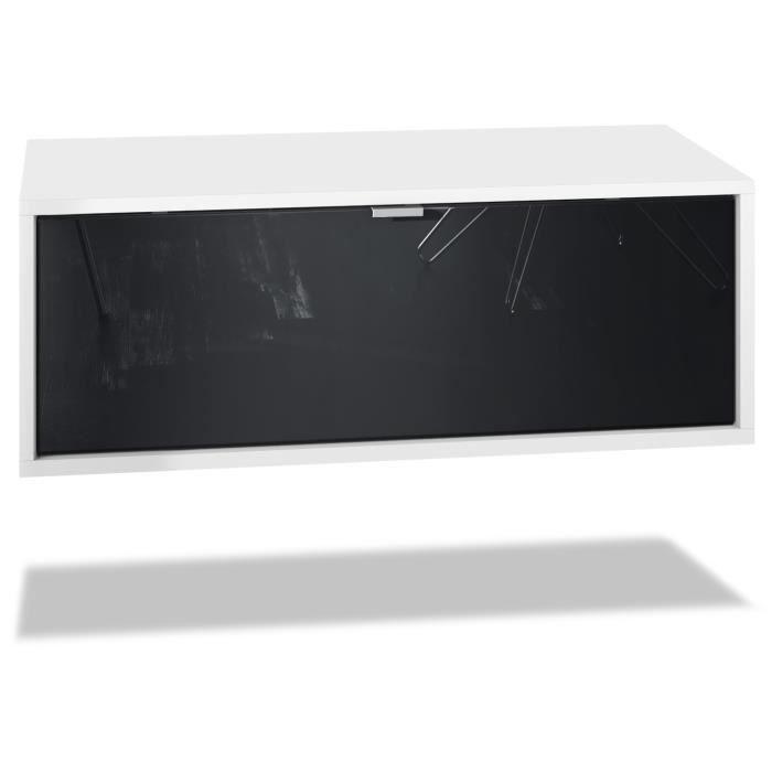 Meuble TV Lana 140 armoire murale lowboard 140 x 29 x 37 cm, caisson en blanc mat, façades en Noir haute brillance